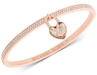 Michael Kors Pavé & Heart Lock Charm Bangle Bracelet
