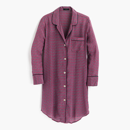 J.CrewSilk nightshirt in jewel dot print