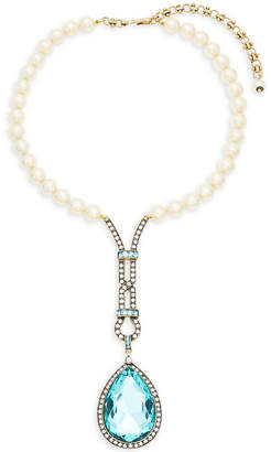 Heidi Daus Long Teardrop Faux Pearl And Crystal Necklace