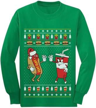Junk Food Clothing TeeStars Funny Burger & HotDog Ugly Xmas Youth Kids Long Sleeve T-Shirt
