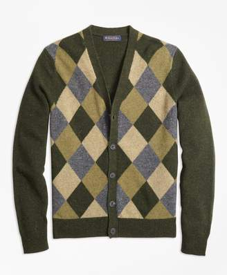 Brooks Brothers Lambswool Button-Front Argyle Cardigan
