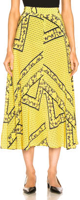Ganni Silk Mix Skirt in Minion Yellow | FWRD