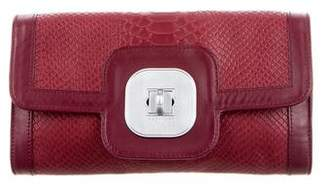 Longchamp Embossed Leather Clutch