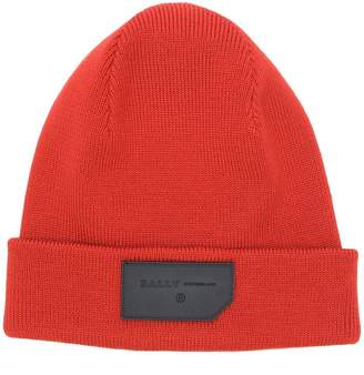 Bally logo patch beanie