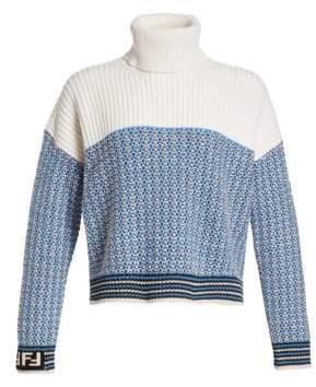 Fendi Waffle Knit Logo Sleeve Turtleneck Sweater