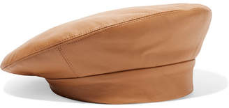 CLYDE Leather Beret - Camel