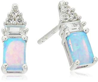 Sterling Silver Octagon Cabochon Lab Created Blue Opal and Lab Created White Sapphire Post and Nut Earrings