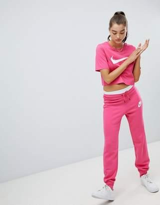 Nike Rally Pink Swoosh Logo Slim Fit Joggers