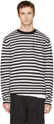 McQ Black and White Striped Glyph Logo Sweater