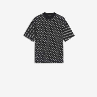 Balenciaga Allover Logo Lines T-shirt in black printed light jersey