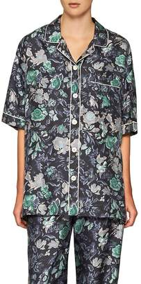 Burberry Women's Floral-Print Mulberry Silk Shirt
