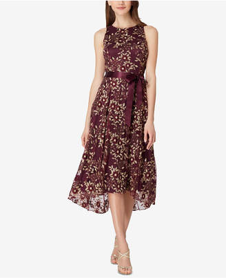 Tahari ASL Embroidered Midi Fit & Flare Dress