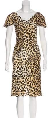 Just Cavalli Animal Print Knee-Length Dress Tan Animal Print Knee-Length Dress
