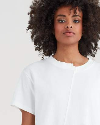 7 For All Mankind Short Sleeve Splice Crop Tee in White