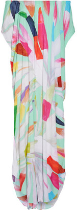 Mara Hoffman - Dashiki Off-the-shoulder Printed Textured-crepe Maxi Dress - Mint $295 thestylecure.com