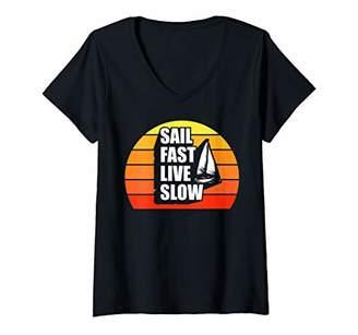 Womens Captain Sail Gifts Funny Sailing Captain Sailboat Anchor V-Neck T-Shirt