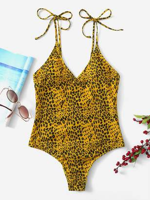 bd3ad3eabe733 Shein Leopard Print Low Back One Piece Swimsuit