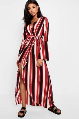 boohoo Nautical Stripe Wrap Maxi Dress