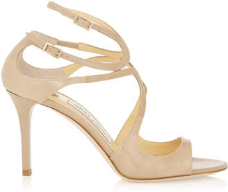 Jimmy Choo IVETTE Nude Patent Leather Strappy Sandals