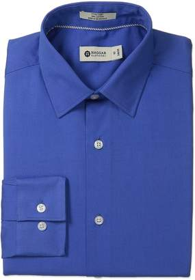 Haggar Men's Pinpoint Oxford Solid Point Collar Regular Fit Long Sleeve Dress Shirt