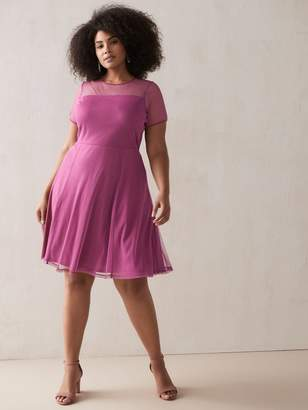 Fit & Flare Clip-Dot Mesh Dress