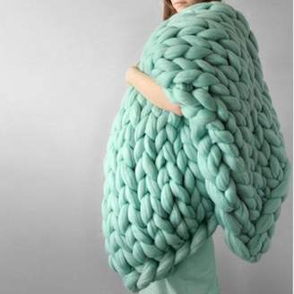 """Grtsunsea 39.4""""x31.5""""/100x80cm Soft Warm Hand Chunky Knit Blanket Thick Yarn Wool Bulky Bed Spread Throw 7 Colors"""