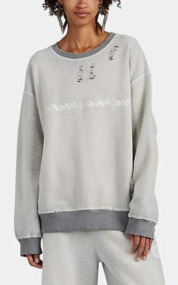 MM6 MAISON MARGIELA Women's Backward-Logo Reverse-Fleece Sweatshirt - Gray