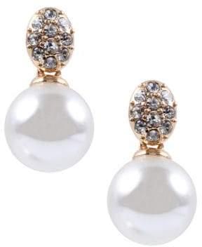 Anne Klein Crystallized Pearl Drop Earrings