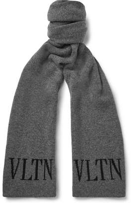 Valentino Garavani Logo-Intarsia Virgin Wool and Cashmere Scarf - Gray