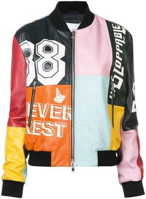 Mira Mikati colour block bomber jacket