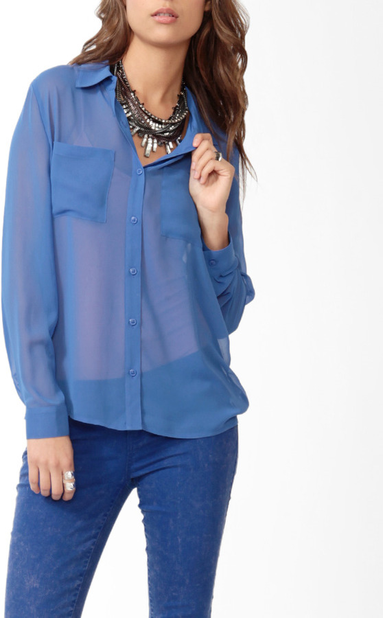 Forever 21 Chiffon Pocket Blouse