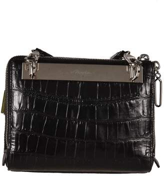 3.1 Phillip Lim Ray Triangle Crocodile Embossed Shoulder Bag