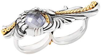 Stephen Webster Men's Silver Cat's Eye Quartz 7.2 Ct.Tw. Double Finger Ring