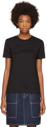 Carven Black Grosgrain Logo T-Shirt