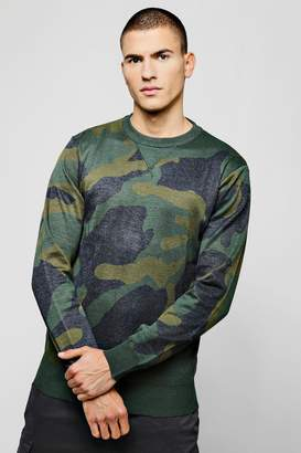boohoo Camo Jacquard Knitted Jumper