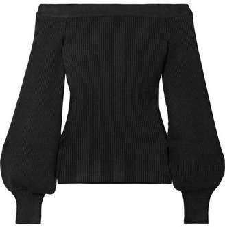 Michael Kors Off-the-shoulder Ribbed Merino Wool-blend Top - Black