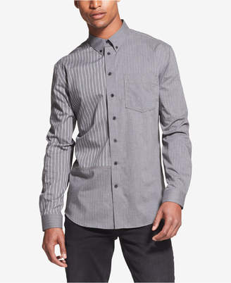 DKNY Men Patchwork Stripe Pocket Shirt