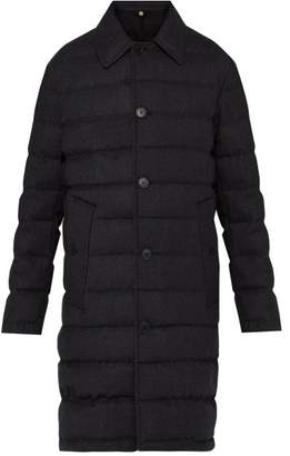 Burberry Down Filled Wool Flannel Car Coat - Mens - Grey