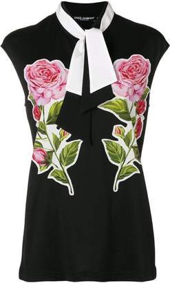 Dolce & Gabbana pussybow rose sleeveless blouse
