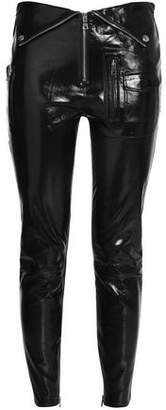 RtA Zip-Detailed Patent-Leather Skinny Pants