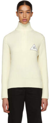 Gosha Rubchinskiy White Zip Collar Knit Sweater