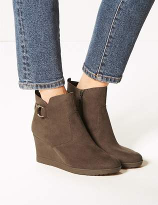 Marks and Spencer Wide Fit Wedge Heel Side Zip Ankle Boots