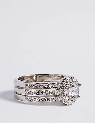 Marks and Spencer Platinum Plated Millgrain Eternity Diamanté Ring