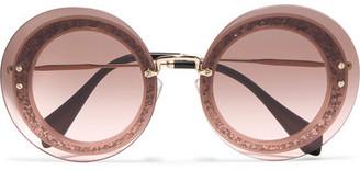 Miu Miu - Round-frame Glittered Acetate And Gold-tone Sunglasses - Pink $410 thestylecure.com