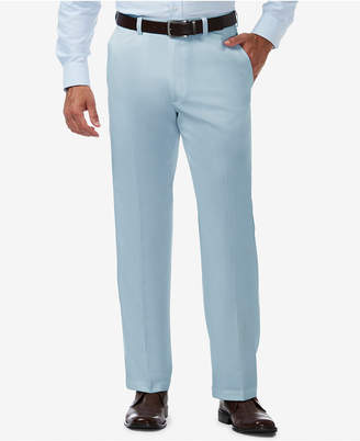 Haggar Men's Cool 18 Pro Classic-Fit Expandable Waist Flat Front Stretch Dress Pants