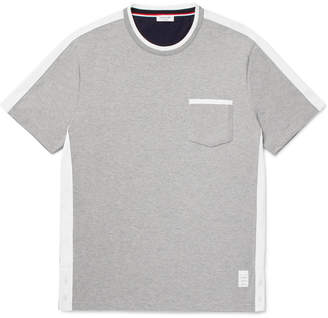 Thom Browne Colour-Block Webbing-Trimmed Cotton-Jersey T-Shirt