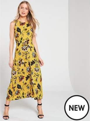 Warehouse Paisley Tie Knot Back Midi Dress - Mustard