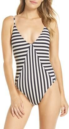 J.Crew Mixed Stripe Paneled One-Piece Swimsuit