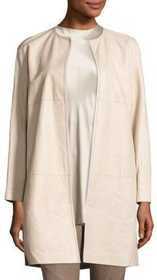 Lafayette 148 New York Nancy Long Open-Front Lambskin Leather Jacket, Taupe $1,298 thestylecure.com