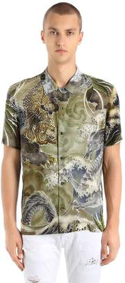 Just Cavalli Printed Fluid Viscose Short Sleeve Shirt